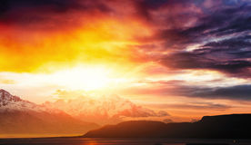 Fantastic sunset in the mountains cumulus clouds. Carpathian Stock Photography