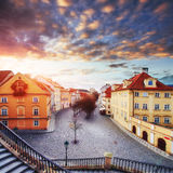 Fantastic sunset over cumulus clouds in the Czech Republic Royalty Free Stock Image