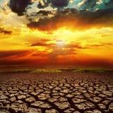 Fantastic sunset over desert Stock Image