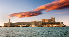 Fantastic sunset over famous If castle, Marseille Stock Images