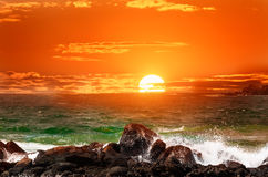 Fantastic sunset over the ocean on island of Sri Lanka. Royalty Free Stock Images