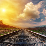 Fantastic sunset over railroad Stock Images