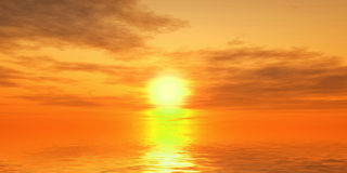 Fantastic sunset over the sea. 3D Render Royalty Free Stock Image
