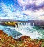 Fantastic sunset scene of powerful Godafoss waterfall