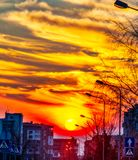 Fantastic sunset sky. In a cityscape royalty free stock image