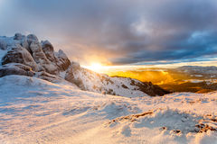 Fantastic sunset winter landscape. Royalty Free Stock Photography