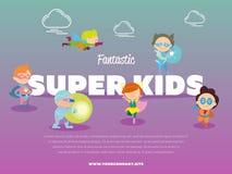 Fantastic super kids banner with children Royalty Free Stock Image