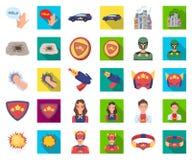 A fantastic superhero cartoon,flat icons in set collection for design. Superhero`s equipment vector symbol stock web stock illustration
