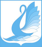 Fantastic swan and  framework. Vector framework and fantastic swan in decorative style Stock Photos