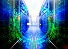 Fantastic symmetric data center room with a binary code penetration servers covered big data concept graphics Royalty Free Stock Photos