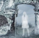 Fantastic transparent white woman ghost Stock Photo