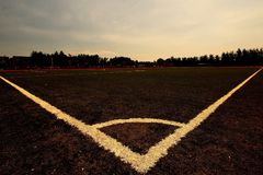 Fantastic triangle on the soccer field royalty free stock photography
