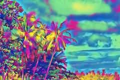 Fantastic tropical forest with palm trees. Sunny day on exotic island. Royalty Free Stock Images