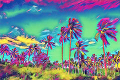 Fantastic tropical landscape with palm tree. Sunny day on exotic island. Royalty Free Stock Photos