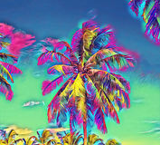 Fantastic tropical scene with palm tree. Sunny day on exotic island.