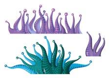 Fantastic underwater plants algae. Fantastic cartoon underwater plants algae - vector isolated  illustration Stock Photography