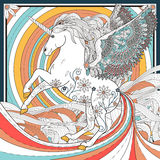 Fantastic unicorn. Coloring page in exquisite style stock illustration