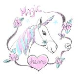 Fantastic unicorn with rainbow colors mane and horn. Vector cute illustration with Magic dreams text. vector illustration