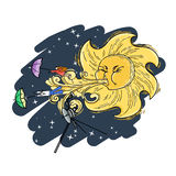 Fantastic vector illustration with the solar wind. Royalty Free Stock Image