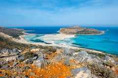 Balos Lagoon and Gramvousa island on Crete, Greece. Stock Image