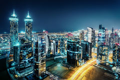 Fantastic view of a big city at night with illuminated modern architecture. Dubai downtown, United Arab Emirates Royalty Free Stock Photos