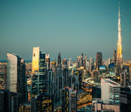 Fantastic view of a big city at night with illuminated modern architecture. Dubai downtown, United Arab Emirates. Aerial skyline Royalty Free Stock Photos