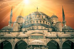 Fantastic view of Blue Mosque with sun and amazing sunbeams Royalty Free Stock Photos