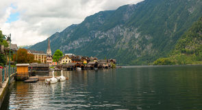 Fantastic view on Hallstatt village and alpine lake. Stock Photo