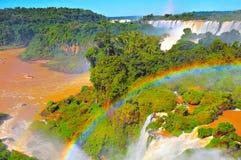 Fantastic view of Iguazu falls. Royalty Free Stock Image