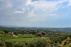 Fantastic view of an Italy manor on sunny day stock images