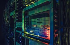 Data centre interface. Fantastic view of the mainframe in the data center rows. Big data center full of rack servers. Data centre interface stock image