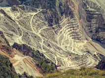 Fantastic view of marble quarry, near Carrara, Italy. Royalty Free Stock Photo