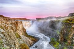 Fantastic view  of the most powerful waterfall in Europe called Dettifoss