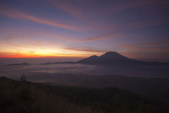 Fantastic view from the Mount Batur at sunrise stock image