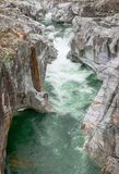 Fantastic view of a mountain river carving ist way through a wild rocky gorge. In southern Switzerland royalty free stock image