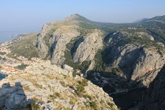 Panorama of the mountains in Omis Croatia royalty free stock images