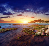 Fantastic view of the nature reserve Monte Cofano. Dramatic scen Stock Images