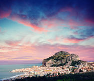 Fantastic view of the nature reserve Monte Cofano. Dramatic scene Stock Photography