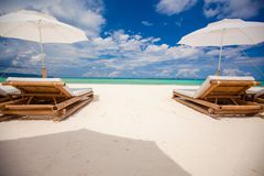 Fantastic view of nice tropical empty sandy plage Stock Photography