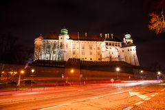 Fantastic view of the night Royal Wawel Castle, Krakow Stock Photography