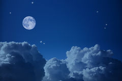 Fantastic view of  Night Sky, Stars  and the Moon Stock Images