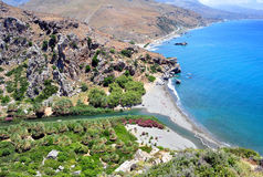 Fantastic view of Preveli Beach Stock Photography