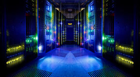 Fantastic view of the server room Royalty Free Stock Image