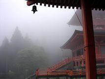 Fantastic view of a Shinto shrine in the Japanese mountains royalty free stock photography
