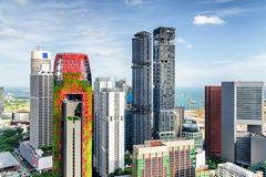 Fantastic view of skyscrapers in downtown. Singapore royalty free stock images