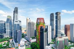 Fantastic view of skyscrapers in Singapore. Summer cityscape royalty free stock images