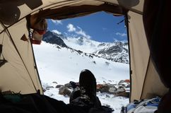 Fantastic view from the tent in the mountains. stock images