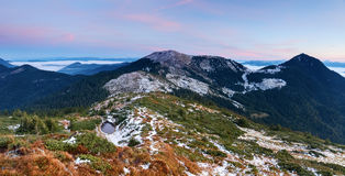 Fantastic view to mountains and fog. Royalty Free Stock Photography