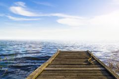 Fantastic view of the wooden pier in the lake. Scenery backgroun. D Royalty Free Stock Photo