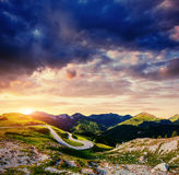 Fantastic views of the asphalt road in the mountains. Royalty Free Stock Photo
